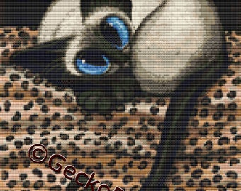 Modern cat cross stitch kit by AmyLyn Bihrle Siamese Cat counted Cross Stitch Kits 'Siamese Leopard Spots'