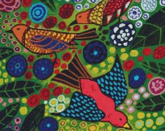 Modern Cross Stitch Kit, Bird Cross Stitch, Bird and Flowers, Xstitch, Heather Galler, DMC Materials, GeckoRouge, CrossStitch, Counted