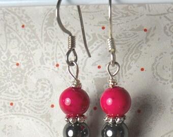 Black and Pink candy dangle earrings - hematite earrings - pink fossil beads earrings