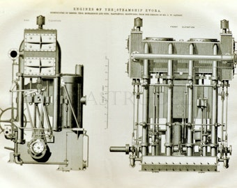 1871 Large English Antique Engraving of Engines of the Steamship Evora