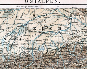 1895 Vintage Map of the Eastern Alps