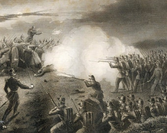 1858 Antique Engraving of a Night Scene in the Trenches before Sebastopol (Crimean War)