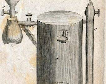Rare Antique Print on Hydraulics. Copper Engraving Published in 1806 . Plate IV