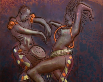 """African Copper Art  - African Couple Dancing with Conga -Congo DRC - 8"""" X 12"""""""
