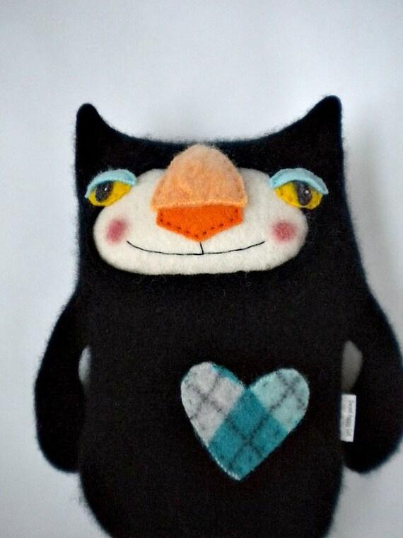 cashmere stuffed animal black cat repurposed by sweetpoppycat. Black Bedroom Furniture Sets. Home Design Ideas