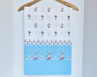 Dutch Windmill & People Flour Sack - Blue, White and Red - Opened - Authentic Vintage Feed Sack