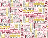 Riley Blake, Remember, Words, Cream Fabric, Carina Gardner, Designer Cotton Quilt Fabric, Novelty Fabric, Quilting Fabric