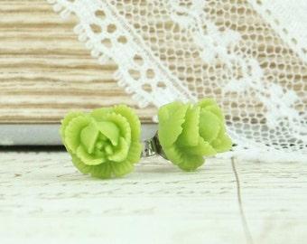Green Rose Studs Rose Stud Earrings Lime Green Earrings Green Rose Earrings Surgical Steel Studs