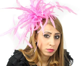 Fluffy Crin Burnt Hot Pink Fascinator Hat for Weddings, Races, and Special Events With Headband