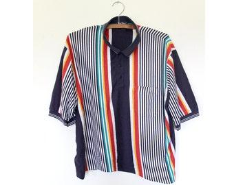 Green Stripe Polo Tee Shirt Basic 90s Unisex Medium Green