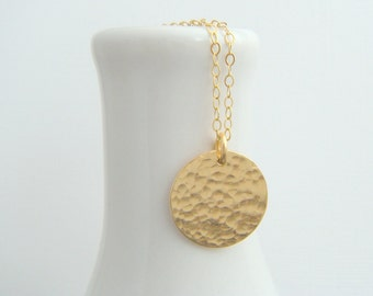 hammered gold circle necklace. 14k gold filled fill disc. 14 k simple everyday jewelry. modern dainty delicate pendant gift for her 5/8""