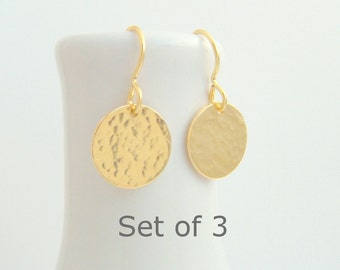 """bridesmaid earrings. SET OF 3. small gold dangle. hammered circle drop. 14k yellow gold filled. wedding jewelry. simple bridal gift. 1/2"""""""