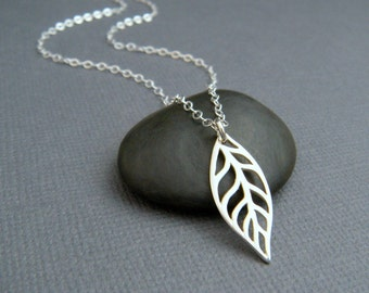 silver leaf necklace. small modern necklace. sterling silver. simple nature pendant. tiny single leaf. everyday dainty jewelry gardener gift