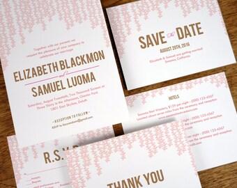 Printable Wedding Invitation Set - Hanging Pink Garlands - Pink & Brown Wedding Printables - Instant Download Wedding Invites, RSVPs, etc.
