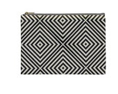 """Gray And White Pouch, Make Up, Cosmetic Case Travel Bag Pencil Case - 9"""" X 6"""" -  Large -  Made by artstudio54"""