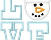 Love Blue Snowman Applique Design INSTANT DOWNLOAD