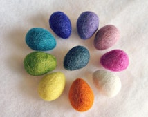 Set of 10 Happy Little Felted Wool Easter Eggs