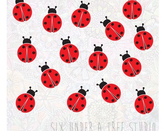 15 Ladybugs Wall Vinyl Decals Art Graphics Stickers
