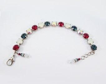 Red Blue White Bracelet 4th July,4th of July jewelry,Navy Red White 8mm Rhinestone Tennis Bracelet Swarovski Crystal Silver finish,SB1