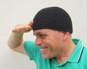 men's hemp kufi/ pure black crochet