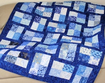 Snowflakes Lap Quilt and Pillows, Blue and White Winter Sofa Throw Quilt, Decorative Snowflake Pillows, Quiltsy Handmade Patchwork Blanket