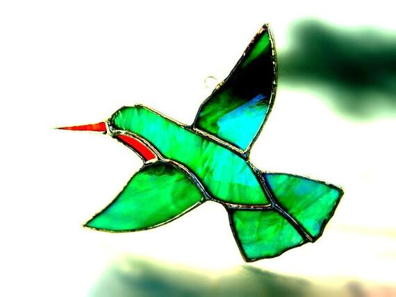Hummingbird Stained Glass Suncatcher Bird Ruby Christmas Mothers Day Valentines Yule Solstice Wedding Birthday Spring Decoration
