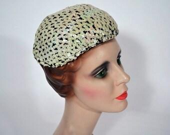 1950s sequin hat 50s fun white evening cap