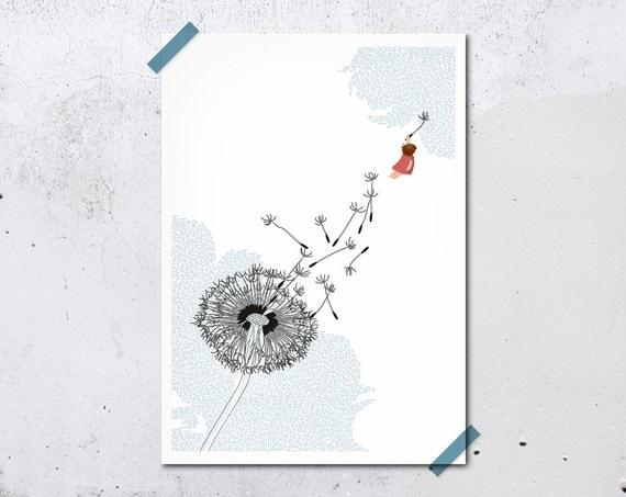 Freedom Print 5 x 7 Dandelion white blue girl flying cute children decor nursery