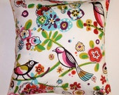 "Throw Pillow Cover, Toss Pillow, Accent Pillow, Larkspur Brite, Multicolor Birds & Floral Pillow, Alexander Henry Fabric, 16x16"" Square"