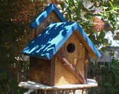 Bird House - A Persnickety Rustic BLUE Bird House in Reclaimed Wood and Branches