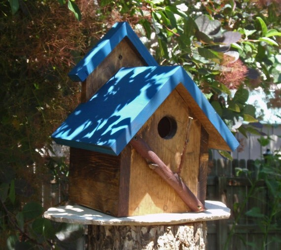 Handmade Bird House - A Persnickety Rustic BLUE Bird House, Handmade & Painted in Reclaimed Wood and Branches, Charming Backyard Bird House