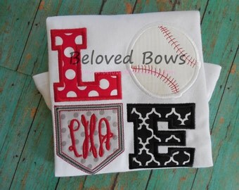 LOVE Baseball Diamond Ruffle Shirt---Baseball Sister---Baseball Fan