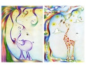 8x11 inches 2 Print Set - Elephant's Lunch Time and Lona the cute giraffe