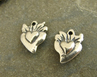 Tiny Sacred Hearts - Artisan Sterling Silver Heart Charms - One Pair - ctsh