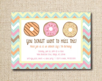 Donut / Doughnut party invitation (custom), printable file