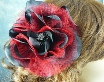 Black and Red Net Hair Flower Floral Accessory