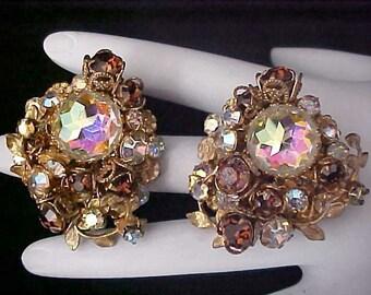 DeMARIO of N.Y. ~ Topaz & Aurora Borealis Glamorous Gilt Gold Filigree Clip Earrings