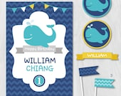 Whale Birthday, Preppy Birthday, Nautical Birthday Party, DIY Party Collection, Party Kit