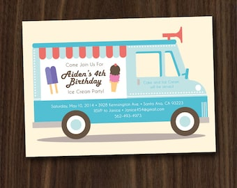 Ice Cream Birthday, Ice Cream Party Truck Invitation Printable, 5x7 DIY Invitation by MayDetails