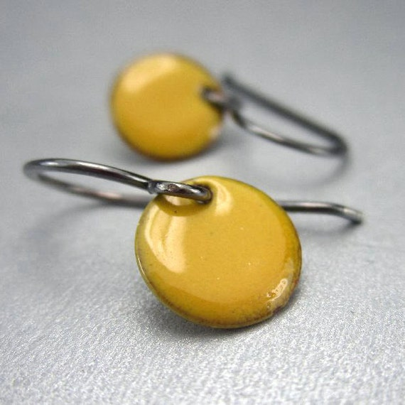 Small Yellow Earrings, Sterling Silver, Tiny Earrings, Round Enamel Dangle Earrings, Dot