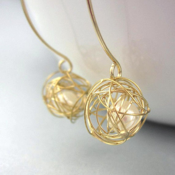 Wire Ball Pearl Earrings, Tie the Knot Bridesmaid Gift, 14K Gold Filled Tangled Earrings Tumbleweed Jewelry