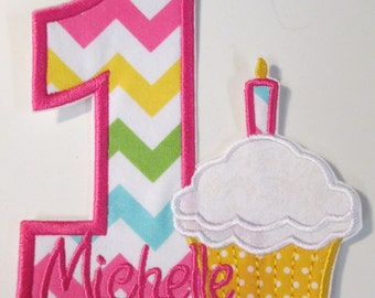 Iron On Applique - Birthday Cupcake with Number & Embroidered Name 344567