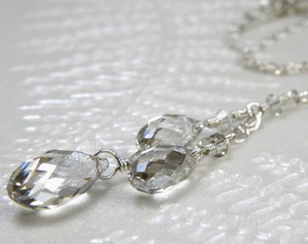 Silver Crystal Necklace, Y Drop Pendant, Swarovski Teardrop Necklace, Sterling Silver, Bridesmaid Wedding Handmade Jewelry, Ready To Ship