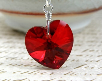 Garnet Red Swarovski Crystal Heart Pendant, Sterling Silver Necklace, January Birthday Gift, Mothers Day Gift, Handmade