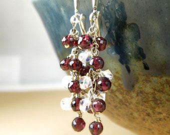 Red Garnet Earrings, Cluster Gemstone, Sterling Silver, Long Dangle, Swarovski Crystal Accents, January Birthstone Birthday Handmade Jewelry