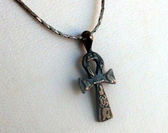 Sterling Silver Egyptian Ankh Charm on Chain Marked 925 Detailed Decoration Bird Scarab