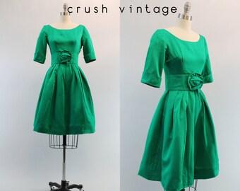 1950s Satin Party Dress XS /  50s Rosette Belted Dress /  Emerald Isles Dress
