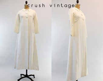 50s Duster XS Small / 1950s Vintage Minimalist White Trench Coat / Northern Wedding Coat