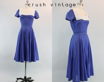 30s Dress Polka Dot XS / 1930s Vintage Blue Cotton Voile Dress / Loretta Young Dress