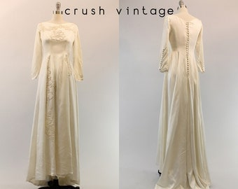 40s Vintage Wedding Dress Beaded XS  / 1940s Wedding Gown Liquid Satin Lace /  If I Fell Gown